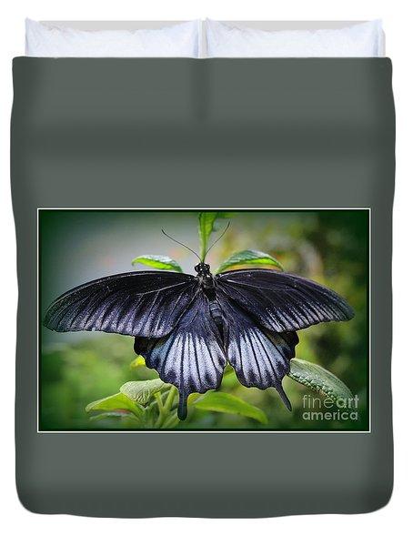 Sapphire Blue Swallowtail Butterfly Duvet Cover