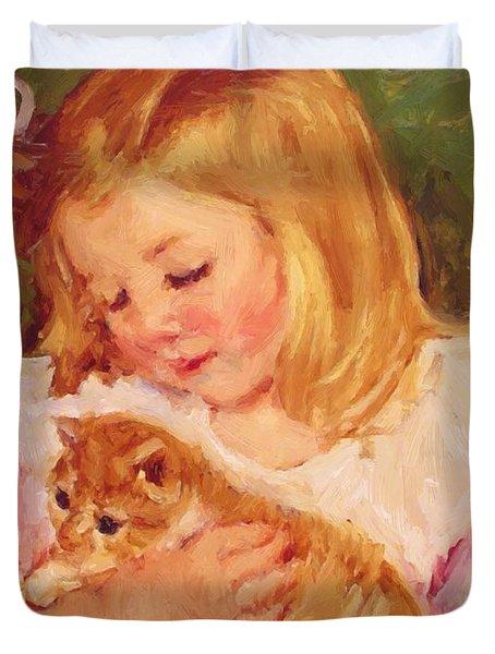 Sara Holding A Cat Duvet Cover
