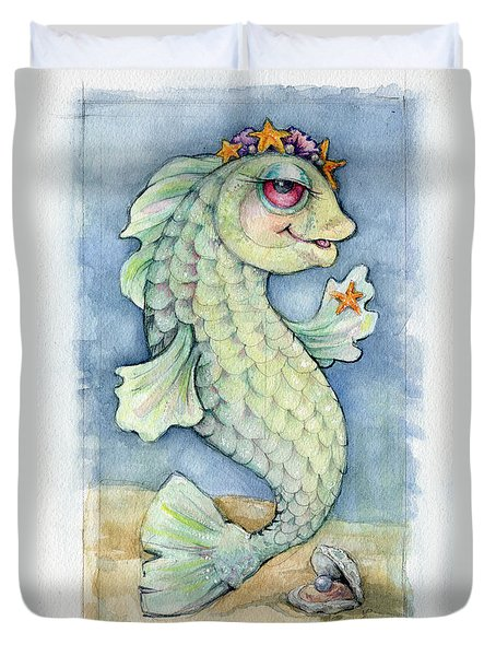 Duvet Cover featuring the painting Sarafina Seabling by Lora Serra