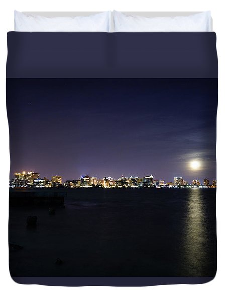 Sarasota Cityscape-night-full Moon 2 Duvet Cover