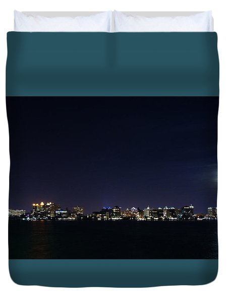 Sarasota Cityscape-night-full Moon Duvet Cover