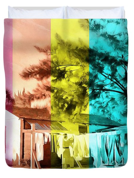 Duvet Cover featuring the painting Sarasota Series Wash Day by Edward Fielding