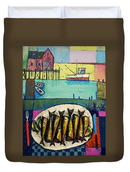 Duvet Cover featuring the painting Sardines by Mikhail Zarovny