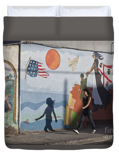 Duvet Cover featuring the photograph Sardinia Wall Painting  by Juergen Held
