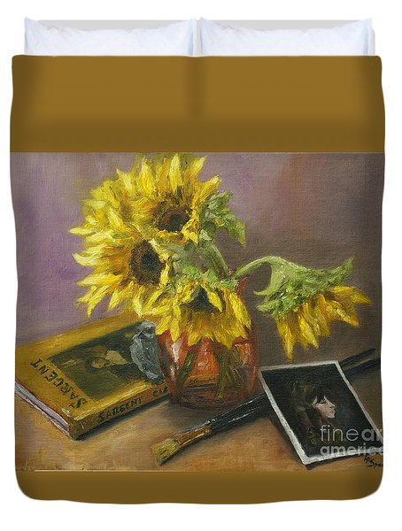 Sargent And Sunflowers Duvet Cover