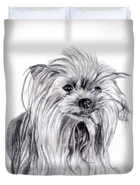 Yorkie Lady Duvet Cover by Beverly Johnson