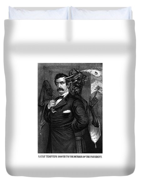 Satan Tempting John Wilkes Booth Duvet Cover by War Is Hell Store
