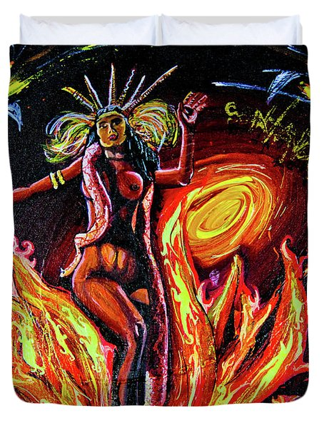 Duvet Cover featuring the painting Satanico Pandemonium by eVol i