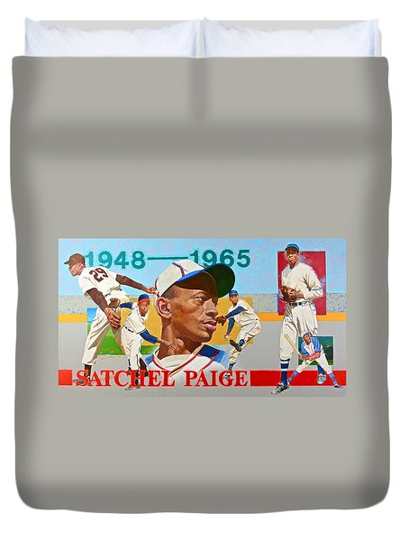 Duvet Cover featuring the painting Satchel Paige by Cliff Spohn