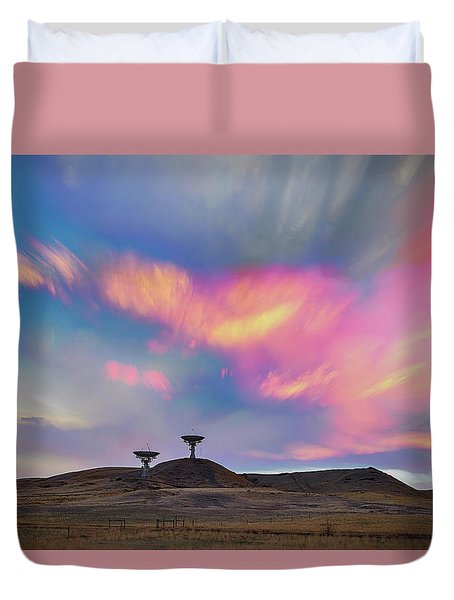 Duvet Cover featuring the photograph Satellite Dishes Quiet Communications To The Skies by James BO Insogna