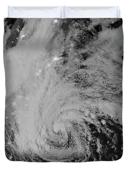 Satellite View Of Hurricane Sandy Duvet Cover