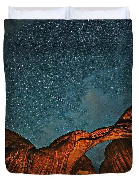 Satellites Crossing In The Night Duvet Cover