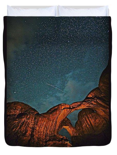 Satellites Crossing In The Night Duvet Cover