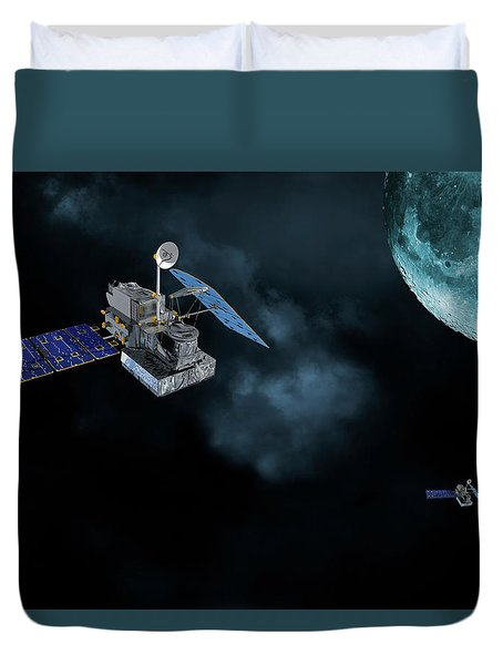 Satellites In Orbit Around The Moon Duvet Cover by Christian Lagereek