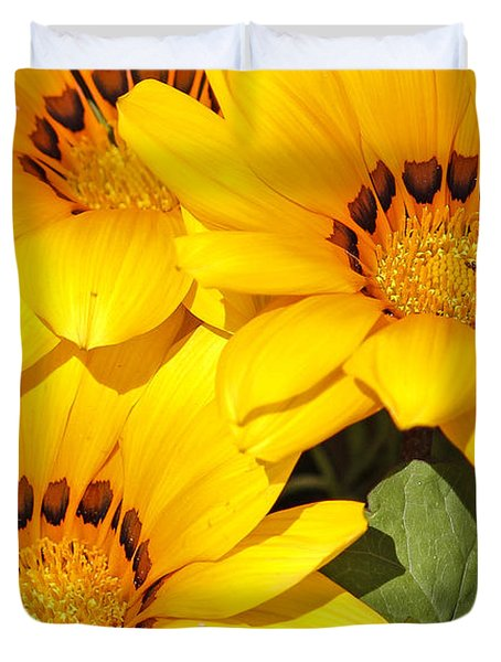Duvet Cover featuring the photograph Satin Yellow Florals by E Faithe Lester
