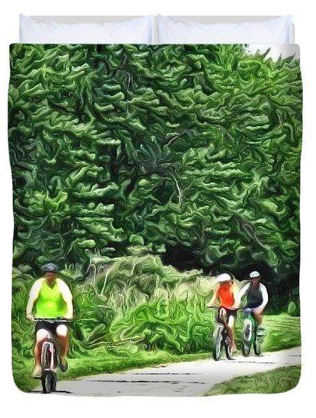 Saturday Bike Ride Duvet Cover