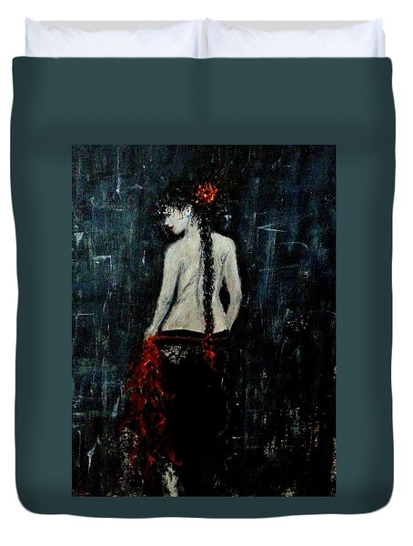 Duvet Cover featuring the painting Saturday Evening  by Cristina Mihailescu