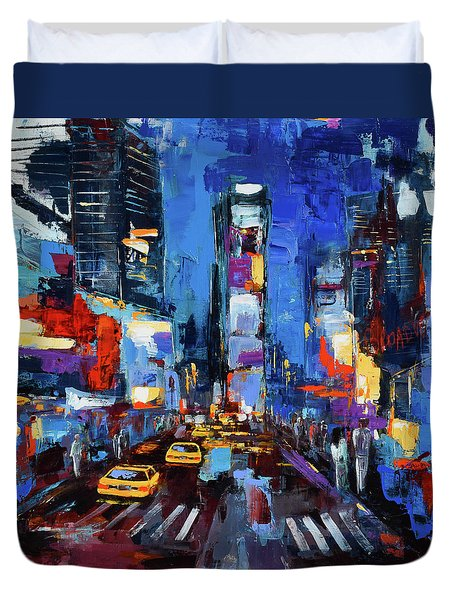 Duvet Cover featuring the painting Saturday Night In Times Square by Elise Palmigiani