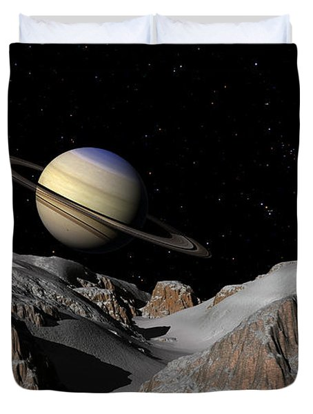 Saturn From The Moon Dione Duvet Cover