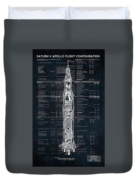 Saturn V Apollo Moon Mission Rocket Blueprint  1967 Duvet Cover