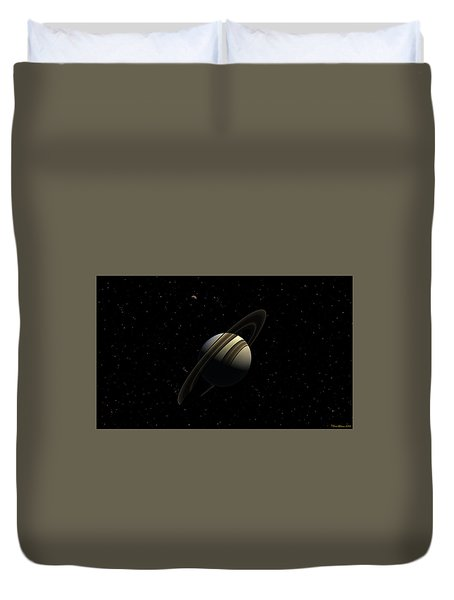 Saturn With Titan Duvet Cover