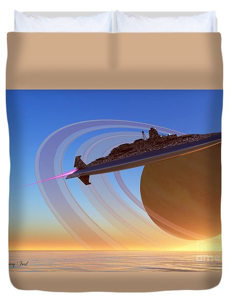 Saturn's Moon Duvet Cover by Corey Ford