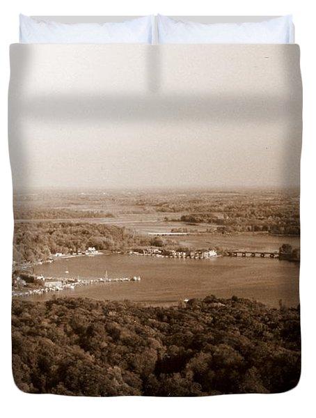 Saugatuck Michigan Harbor Aerial Photograph Duvet Cover by Michelle Calkins
