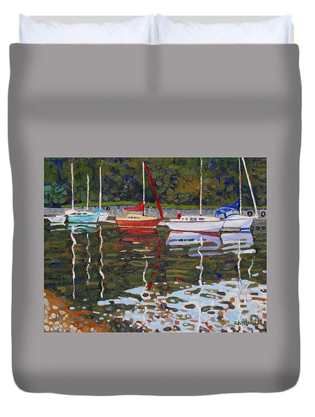 Saugeen Sailboats Duvet Cover by Phil Chadwick