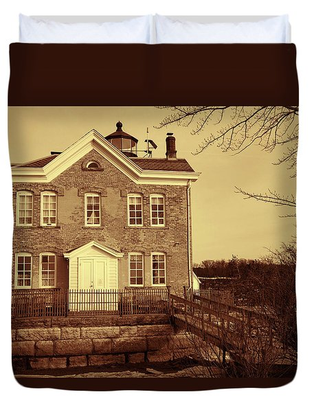 Saugerties Lighthouse Sepia Duvet Cover by Nancy De Flon