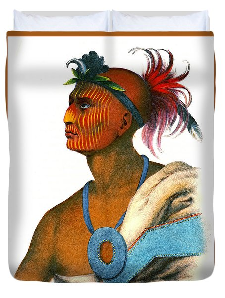 Duvet Cover featuring the photograph Sauk Warrior 1842 by Padre Art