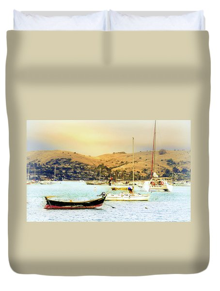 Sausalito Sailboats Duvet Cover by Laura DAddona