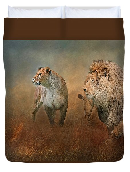 Savanna Lions Duvet Cover