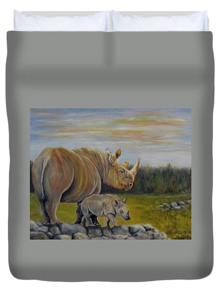 Savanna Overlook, Rhinoceros  Duvet Cover