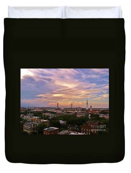 Savannah At Sunset Duvet Cover by Marilyn Carlyle Greiner
