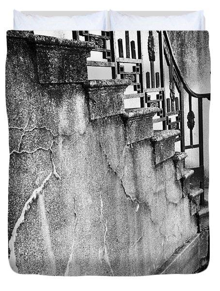 Savannah Stairway Black And White Duvet Cover by Renee Sullivan