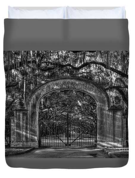 Duvet Cover featuring the photograph Savannah's Wormsloe Plantation Gate Bw Live Oak Alley Art by Reid Callaway