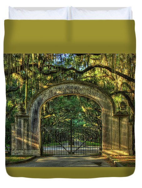 Duvet Cover featuring the photograph Savannah's Wormsloe Plantation Gate Live Oak Alley Art by Reid Callaway
