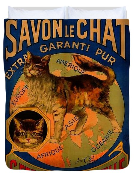 Savon Le Chat Antique French Poster Duvet Cover