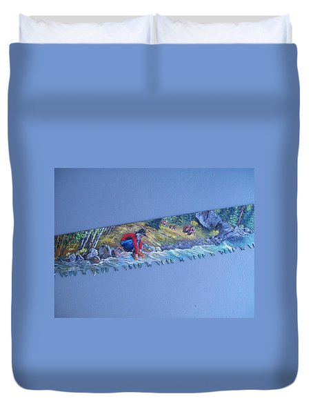 Saw Blade 2  Tetraptych Duvet Cover