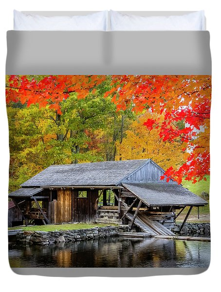 Sawmill Reflection, Autumn In New Hampshire Duvet Cover