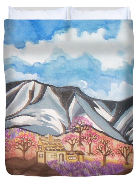 Sawtooth Mountain Farm Duvet Cover by Connie Valasco