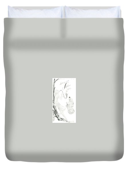 Duvet Cover featuring the digital art Sax Girl by ReInVintaged