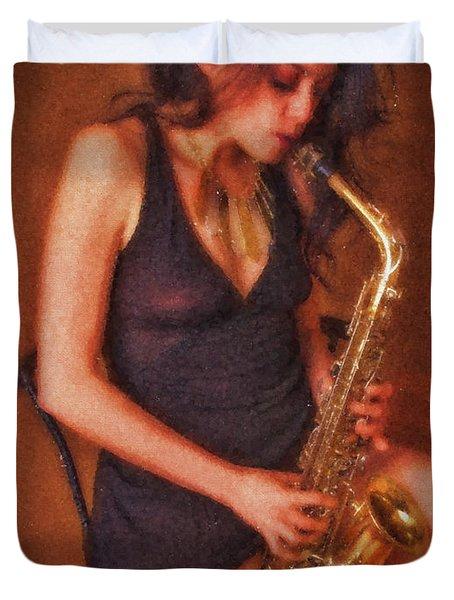Sax Solo  ... Duvet Cover by Chuck Caramella