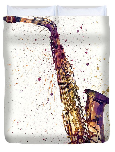 Saxophone Abstract Watercolor Duvet Cover