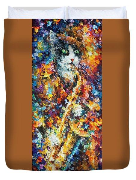 Saxophone Cat   Duvet Cover by Leonid Afremov