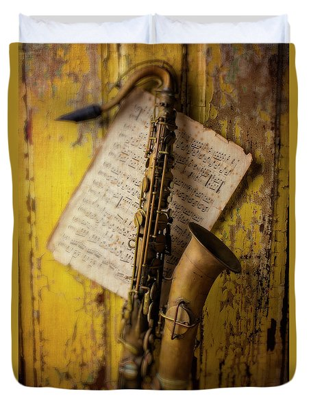 Saxophone Hanging On Old Wall Duvet Cover