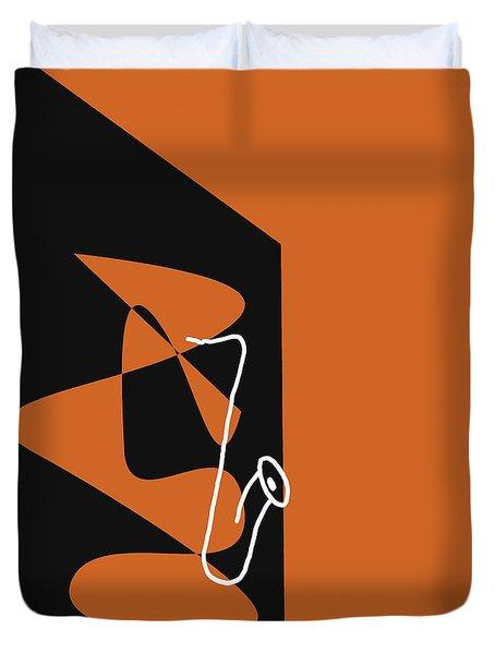 Saxophone In Orange Duvet Cover by David Bridburg