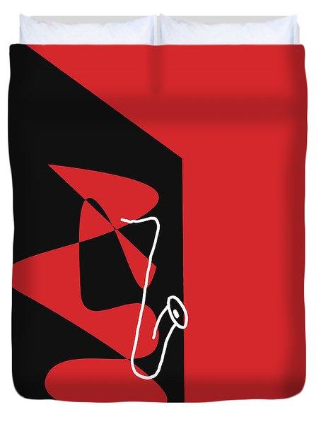 Saxophone In Red Duvet Cover by David Bridburg