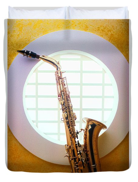 Saxophone In Round Window Duvet Cover