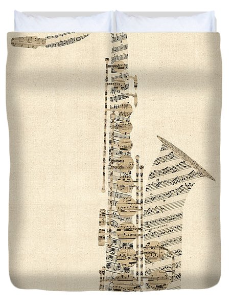 Saxophone Old Sheet Music Duvet Cover